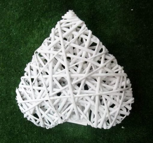 Серце біле плетене ротан НТ32569