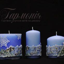 Свічка оздоблена синя циліндр «Ялиночки та місто»