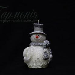 Свічка-фігурка «Сніговик з сірим капелюхом»