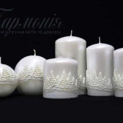 Свічка оздоблена біла перламутрова «Ялинковий ліс»