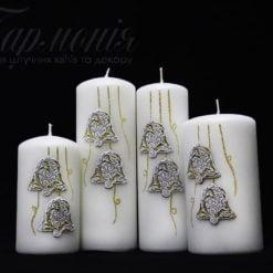 Свічка оздоблена біла із золотистим декором «Дзвіночки»