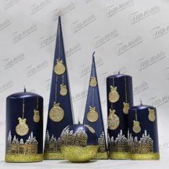 Свічка оздоблена синя перламутрова із золотистим декором «Святкове місто»