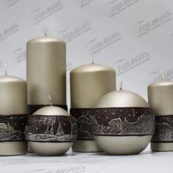 Свічка оздоблена перламутрова із коричневим декором «Зимовий вечір»