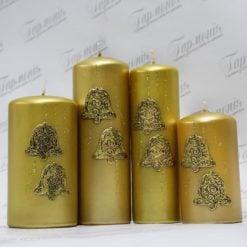 Свічка оздоблена золотиста із золотистим декором «Дзвіночки»