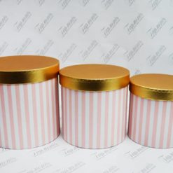 Коробка декоративна циліндр смугаста із золотою кришечкою W74