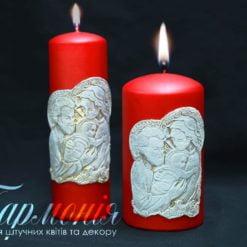 Свічка оздоблена циліндр червона «Свята родина»
