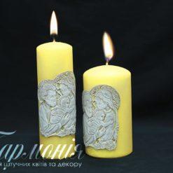 Свічка оздоблена золотиста із золотистим декором «Свята родина»