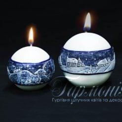 Свічка оздоблена куля синій декор «Зимовий вечір»