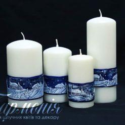 Свічка оздоблена біла із синім декором «Зимовий вечір»