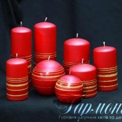 Свічка оздоблена червона поясок із золотих блискіток