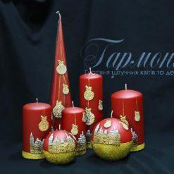 Свічка оздоблена вишнева золотий декор «Святкове місто»
