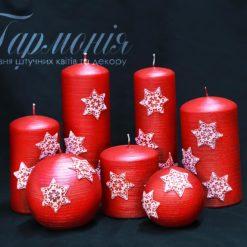 Свічка оздоблена червона «Червоні сніжинки»