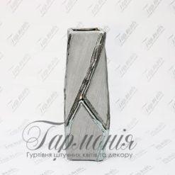 Ваза срібляста кручена з квадратним отвором висока MJ17F161A