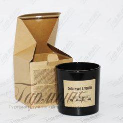 Ароматична свічка в склянці з дерев'яним гнітом «Кедр і ваніль» sn100-81