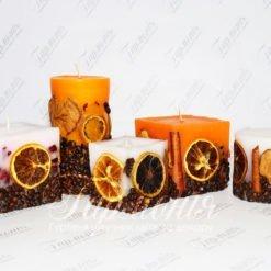 Свічка оздоблена ароматизована зі спеціями і фруктами MOLEDO
