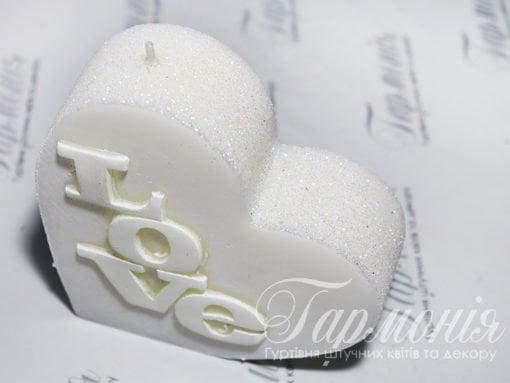 Свічка оздоблена «Серце» з блискітками