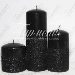 Свічка оздоблена з блискітками циліндр ONYX