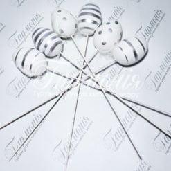 Писанки на паличці в срібну смужку 6шт TG54832