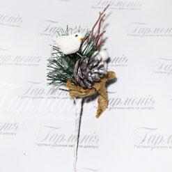 Галузка з пташкою, срібною шишкою CV12410